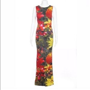 Alice + Olivia maxi dress gown floral Small red